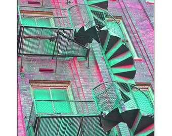 Colorful spiral staircase urban landscape photograph print