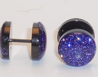 Dimensional Purple Glitter Fake Plugs