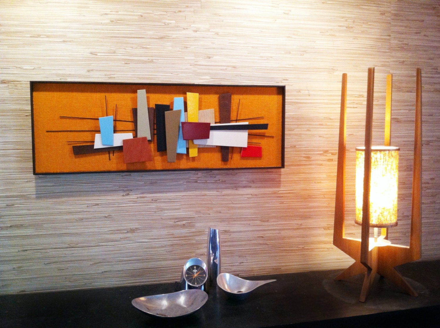 mid century modern abstract wall art sculpture painting retro