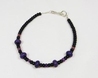 Bracelet in Purple and Black Glass