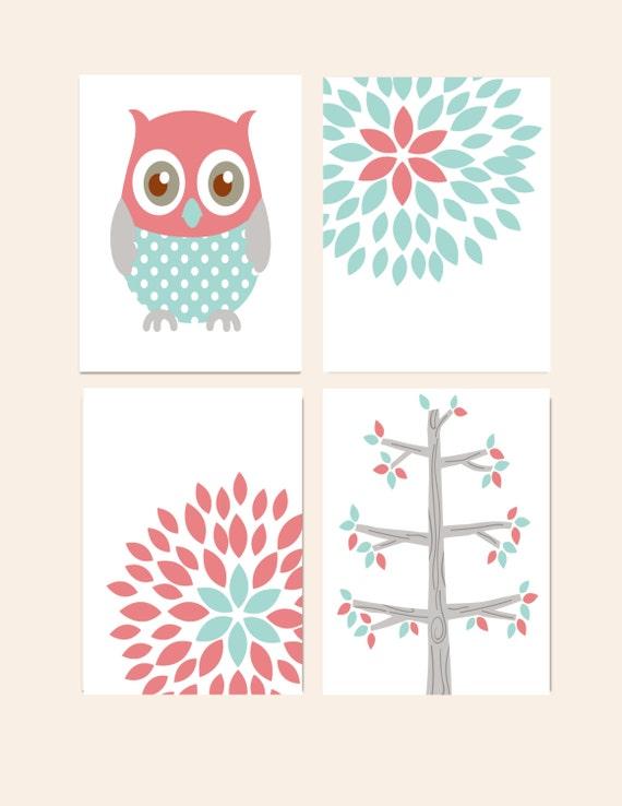Etsy Girl Nursery Wall Decor : Nursery wall decor prints for girls set of