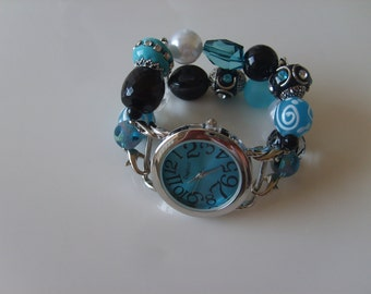 Double Stranded Interchangeable Teal Blue & White Beaded Watch Bands Set (161)