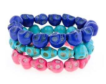 Day of the Dead Jewelry Triple Stack Bracelets-Blue/Turquoise/Pink