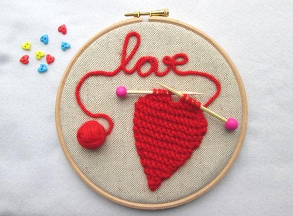Items similar to embroidery hoop art knitted heart