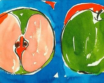 Original Apple Painting  Ink Apple Painting  Watercolor Apple Painting  Original Painting  Handmade by Evartstudio