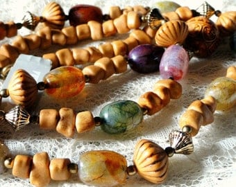 Vintage Necklace, Quartz and Natural, Clay Beads, Costume Jewelry, NOS,