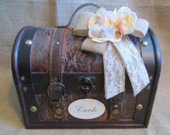 Pick your Ribbon & Flowers - Wedding Trunk, Wedding Card Holder, Card Box, Money Holder, Money Box, Wedding Suitcase, Rustic Wedding Box