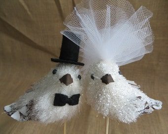 Glittering Winter Love Bird Wedding Cake Topper, Elegant Wedding Cake Topper, Whimsical Wedding Cake Topper, Winter Wedding