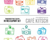 INSTANT DOWNLOAD - Cameras Clipart Set - Hi Res Printable Vintage Camera Doodle Illustrations for Photographers and Scrapbookers