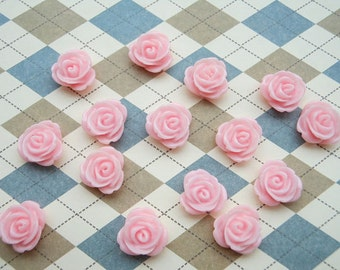50pcs 14mm Resin Rose Flower Pink Rose Flowers Cabochons Cameo Base Setting