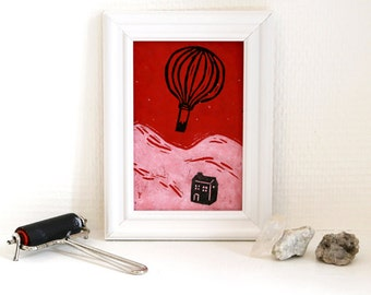 balloon - Linocut, original printing on red paper