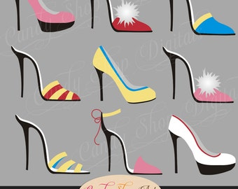 Instant Download - Shoe Dazzlers Shoe Clip Art, High Heel Shoes, Pumps, Digital Clip Art