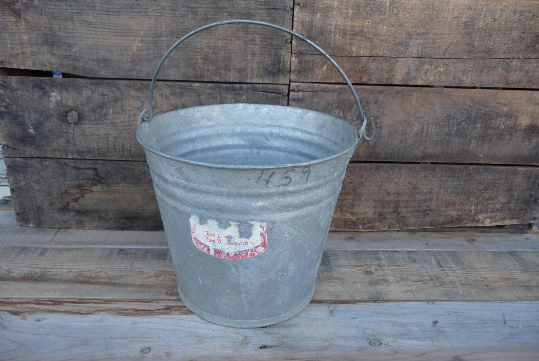 Vintage galvanized steel bucket flowers plants by for Large galvanized buckets for flowers
