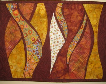Art Quilt Gold Rust Waves, Wall Quilt, Quilted Wall Hanging, abstract quilts