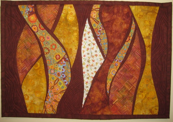 Art Quilt Gold Rust Waves, Quilted Wall Hanging