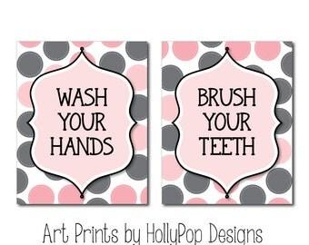 Pink Gray Bathroom Wall Art Childrens Bathroom Manners Bathroom Art Prints Wash Your Hands Brush Your Teeth Toddler Girl Bathroom Artwork