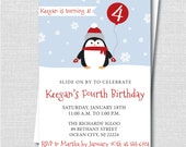 Boy Penguin Birthday Invitation - Penguin Themed Party - Red or Blue - Boy Birthday - Digital Design or Printed Invitations - FREE SHIPPING