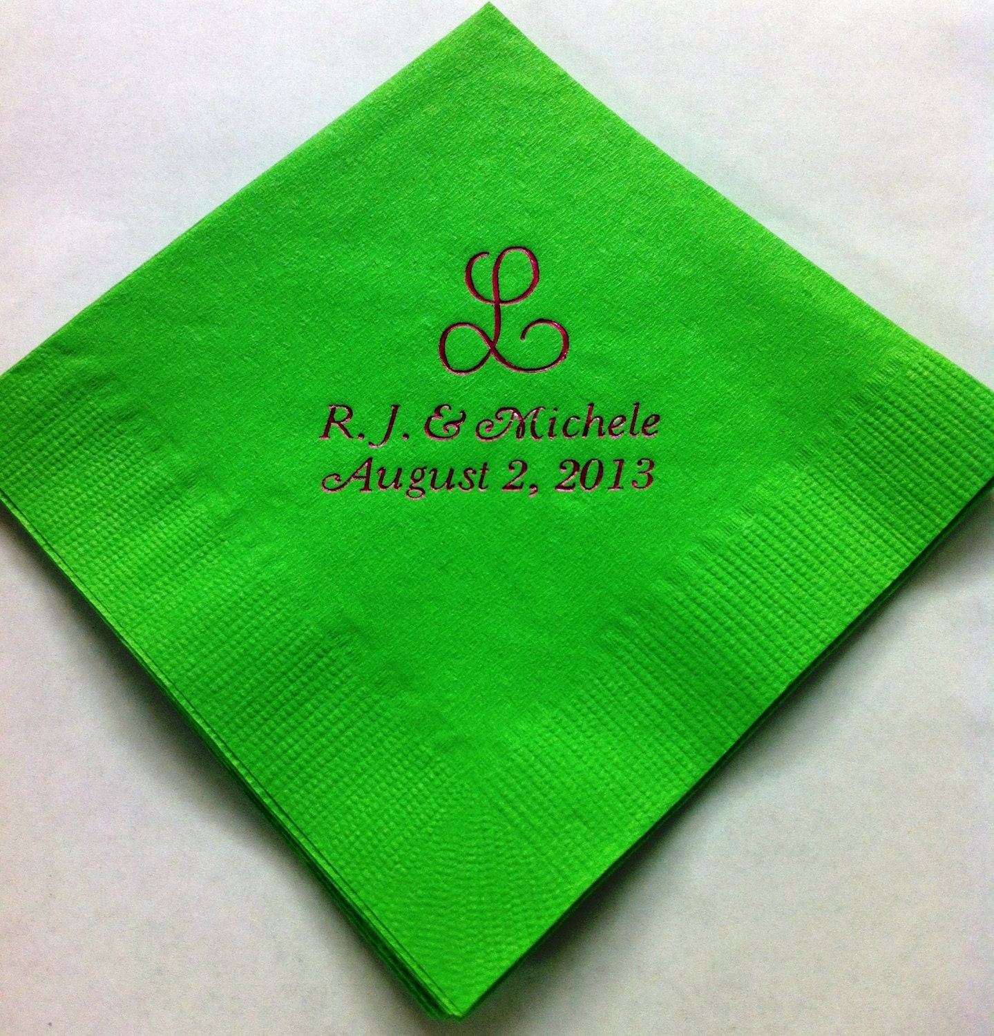 150 personalized beverage napkins wedding by presentsforever for Printed wedding napkins