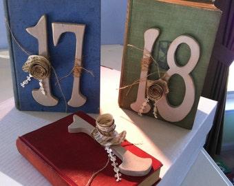 Vintage Book Table Numbers