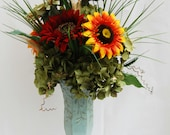 Shabby Chic Silk Sunflower Floral Arrangement