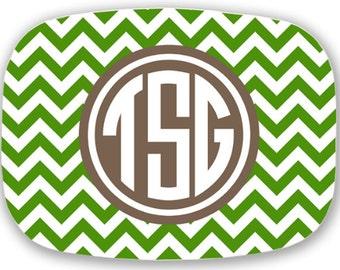 Personalized Melamine Platter - chevron monogram platter