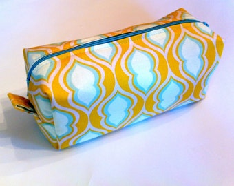 Cosmetic Case / Pencil Case Yellow and Blue