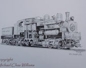 Class B Shay Locomotive- Fine Art Pen and Ink 11 x 17 Print