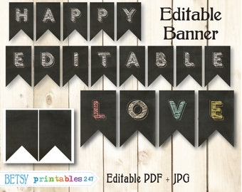 Chalkboard banner,  editable pennants, happy  birthday banner, printable banner - Instant Download  247