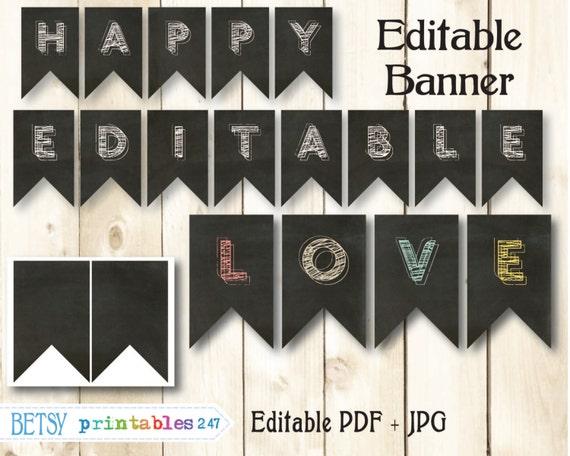 Chalkboard Banner Editable Pennants Happy Birthday Banner