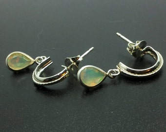 7x5mm Pear Shape Opal Sterling Silver Dangle Earrings