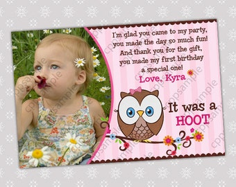 Look Whoos Turning One Thank You card, Owl look whoos Thank You card - OWL Theme - 1st Birthday Girl Owl Thank you card - Digital File