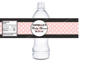 Designer inspired baby shower quilted Custom water bottle label- Printable