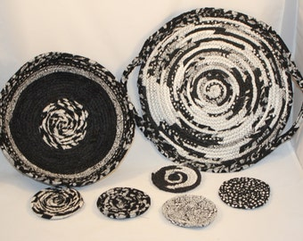 Black and White Coiled fabric Platter