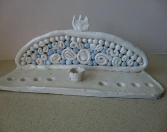 Ceramic Hanukiah,Chanukiah,Menora, Handmade