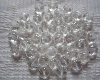 25  Crystal Clear Ribbed Saucer Czech Glass Flower Beads  6mm x 3mm