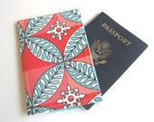 Fabric Passport Cover Case, Coupons, Car Registration Card - Cute Teal Blue Coral Flower Leaves