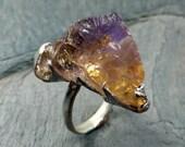 Raw Rough Ametrine Gemstone Ring Sterling Uncut Ametrine Citrine Amethyst Recycled Silver Ring byAngeline
