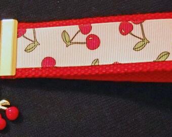Cherries Print Wristlet with Cherries Charm