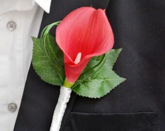 wedding flower men boutonniere PU real touch calla