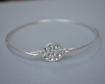 BIG SALE - Silver Bangle- Swarovsky Clear Rhinestone Bangle- Bridesmaids Gifts-