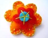 Orange Felt Flower Brooch. Handmade.