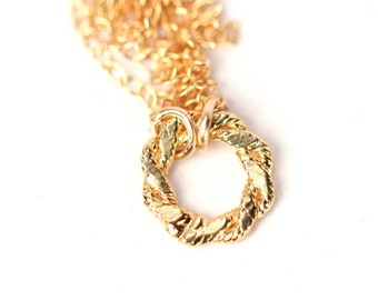 Gold circle necklace - silver circle - hoop - rope - a little gold or sterling silver loop on 14k gold filled or sterling silver chain
