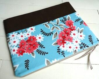 iPad Case, iPad Sleeve, iPad Cover - iPad 2,3,4 Sleeve - iPad 2, 3, 4 Case - Zippered Sleeve - Zippered Pouch - Zippered Case -  Floral Blue