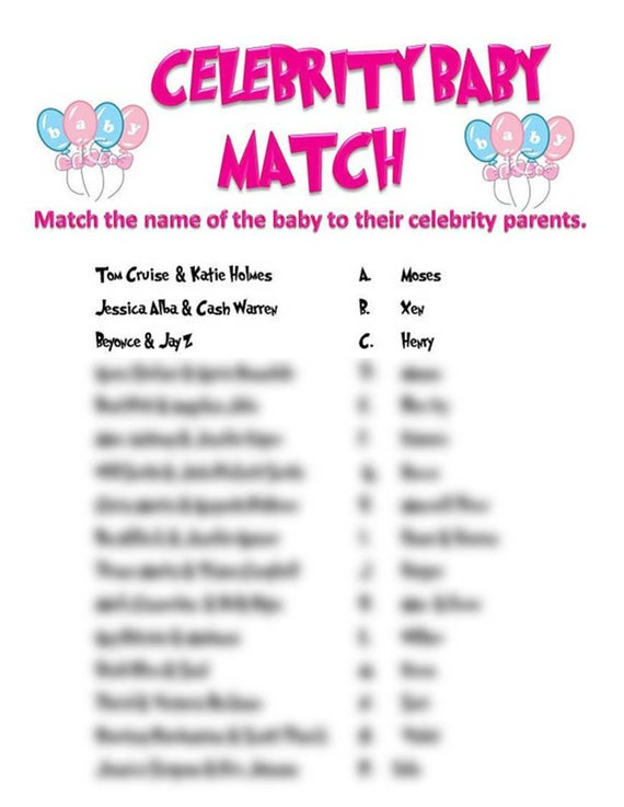 Celebrity baby name matching quiz creator