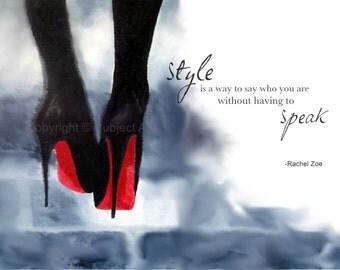 Art Print of CHRISTIAN LOUBOUTIN Black Shoes 'Rachel Zoe Fashion Quote' Fashion Gifts, Wall Art, Home Decor