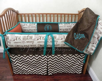 Custom Baby Bedding Set Colton - Boy Baby Bedding, Western Baby Bedding, Cowboy Crib Bedding, Chevron Crib bedding