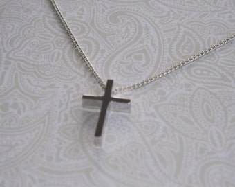 Tiny Cross Silver Necklace- Christian Jewelry