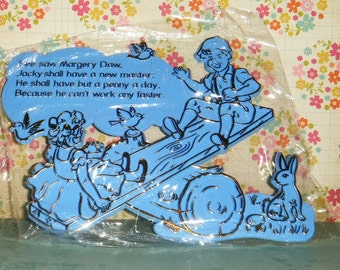 See Saw Margery Daw Vintage 1960's Nursery Rhyme BLUE Wall Decoration Baby's Room ADORABLE   MIP
