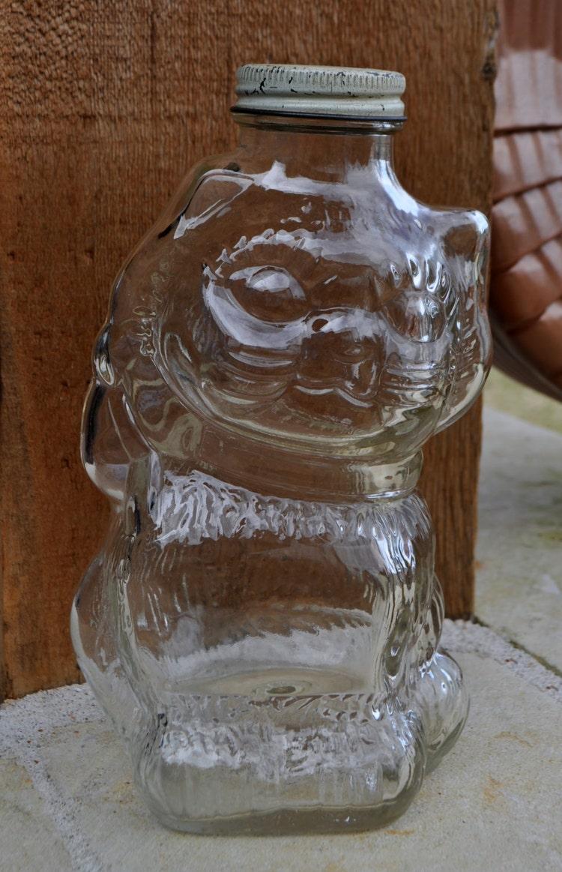 Vintage Glass Cat Bank Honey Jar Grapette Syrup By