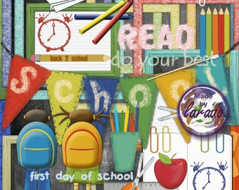 Back to School again!: Instant Download, Digital Scrapbook Kit, Great for Digital Scrapbooking, Cards, Invitations, Stationery
